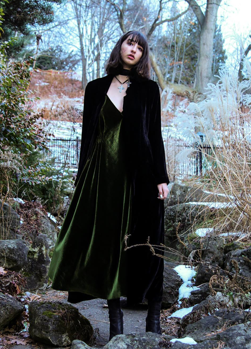 Silk Velvet Black Bottle Dark Green Deep V Slip Dress Wendy Nichol clothing fashion designer ready to wear Handmade in NYC Custom Tailoring Made to Measure Sofia G Model