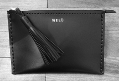 WEED Leather Medium Laced Clutch Pouch Custom Embossed Initial Letter Monogram Card Phone Wallet Clutch Wendy Nichol Designer Purse handbags Handmade in NYC New York City Zip Zipper Pouch Smooth Black High Quality Leather Fringe Tassel Gold Silver Foil