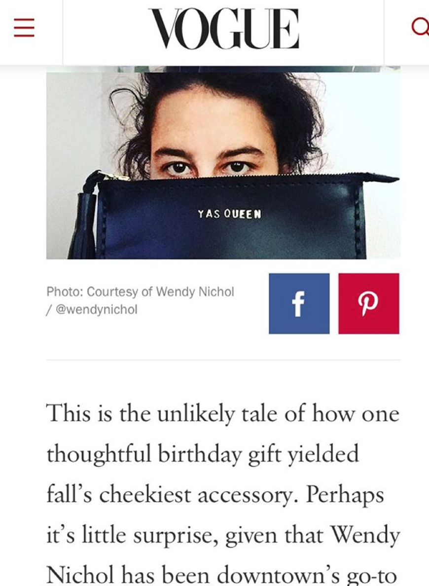 YAS QUEEN Ilana Glazer Broad City Vogue Vogue.com Wendy Nichol Fall's Most Cheeky Accessory is Beyonce and Broad City Approved Leather Large Laced Clutch Pouch Custom Embossed Initial Letter Monogram Card Phone Wallet Clutch Wendy Nichol Designer Purse handbags Handmade in NYC New York City Zip Zipper Pouch Smooth Black High Quality Leather Fringe Tassel Gold Silver Foil YAS QUEEN FUCK YES FUCK YEAH FUCK YOU FUCK NO FUCK OFF