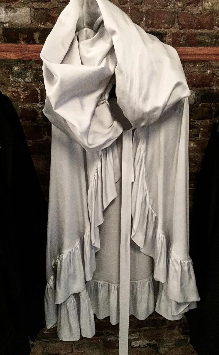 Sunset Ruffle Silk Opera Cape Silver Wendy Nichol SS16 fashion show ready to wear clothing
