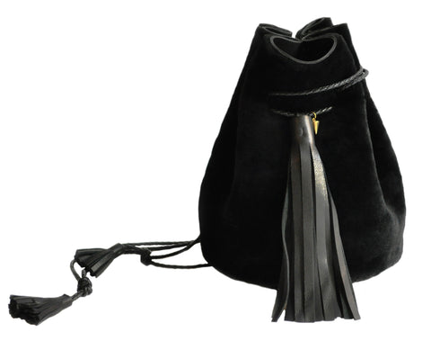 Black Cow Shearling Fur Bullet Bucket Bag Wendy Nichol Leather Handbag Purse Designer Handmade in NYC New York City Drawstring Pouch Large Fringe Tassel Tassels
