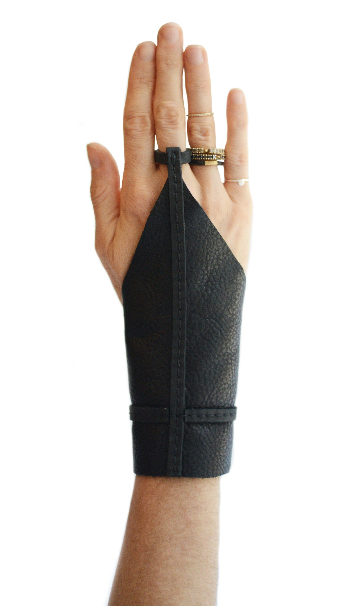 Single Finger Cross Leather Gloves Archer Gloves Wendy Nichol Handmade Leather NYC Witch Vampire