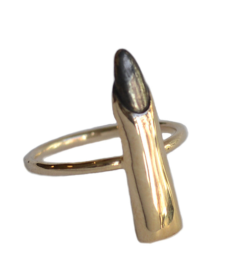 Single Middle Finger Ring Wendy Nichol Fine Jewelry Designer Handmade in NYC New York City Solid bronze Sterling Silver Fuck Off Fuck Yes Fuck you Middle Finger Cheeky Hand Creepy Witch Finger Nail Ring