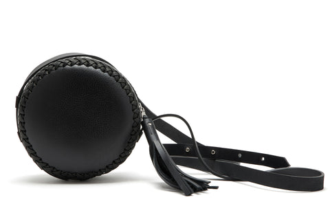 Small Black Leather Canteen Bag Wendy Nichol Handbag Purse Designer Handmade in NYC New York City Braided x Round Circle Cross body Adjustable Strap Zip Zipper Large Fringe Tassel High Quality Leather