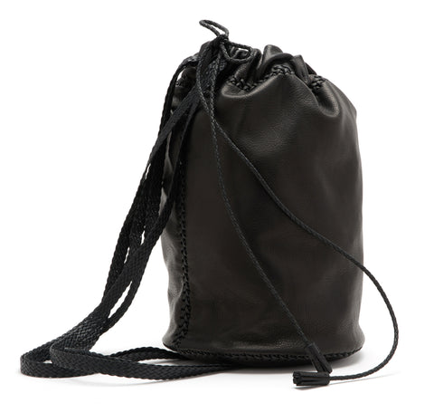 Small Braided Knapsack Backpack Wendy Nichol Handbags Handmade in NYC Black Leather Sack