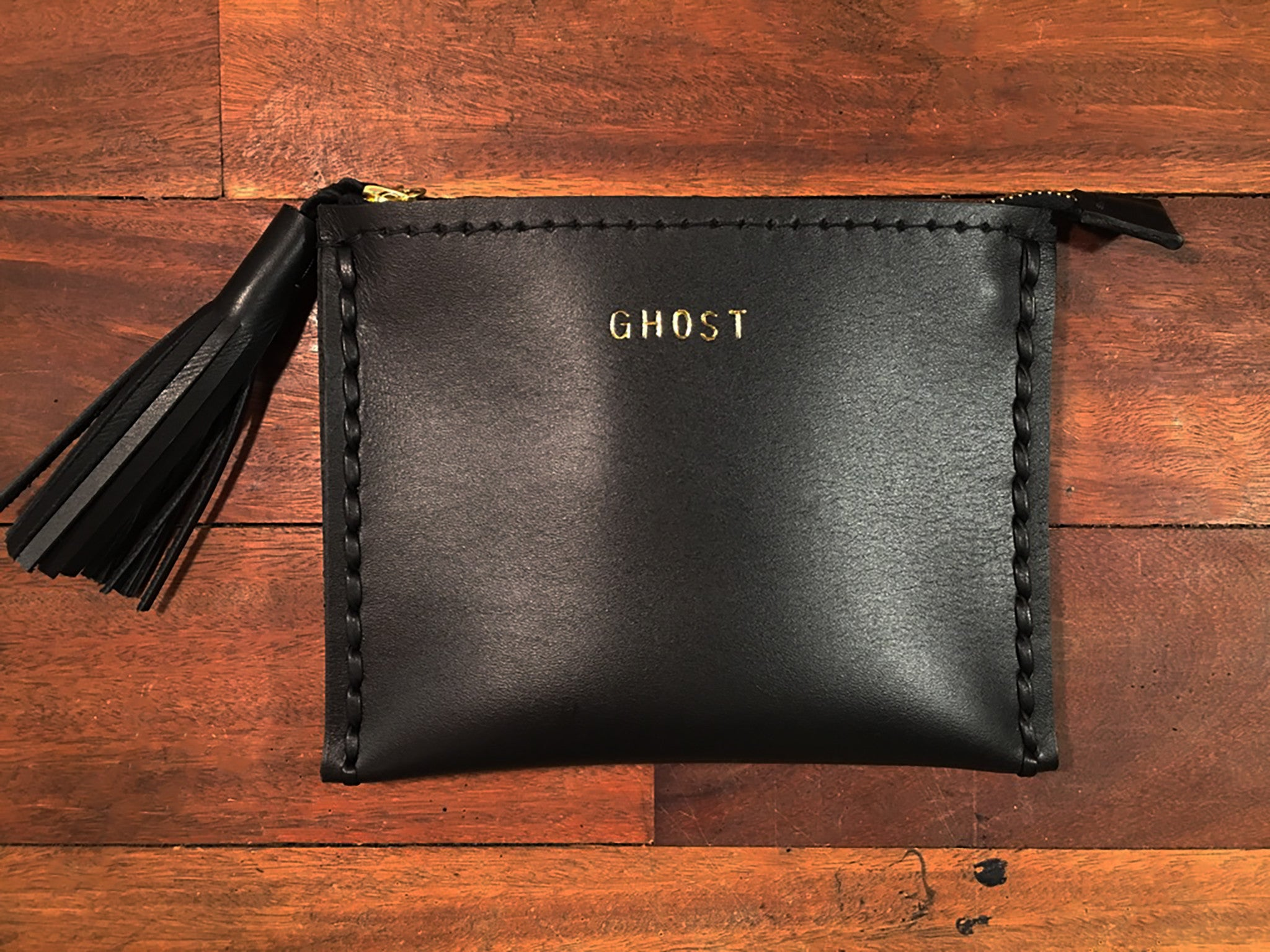 GHOST Black Leather Small Laced Clutch Pouch Custom Embossed Initial Monogram Card Wallet Wendy Nichol Luxe Luxury Purse Handbag Designer handbags Handmade in NYC New York City High Quality Smooth Black Leather Silver Gold Foil Zip Zipper Pouch
