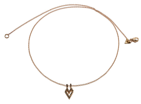 Small Gothic Heart Necklace Wendy Nichol Fine Jewelry Designer Micro Pave Diamonds 14k Gold Sterling Silver Delicate chain