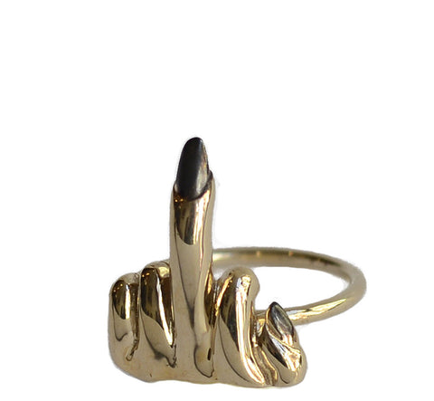 Small Middle Finger Ring Wendy Nichol fine Jewelry designer handmade in NYC solid Sterling Silver Bronze Fuck You Fuck Off