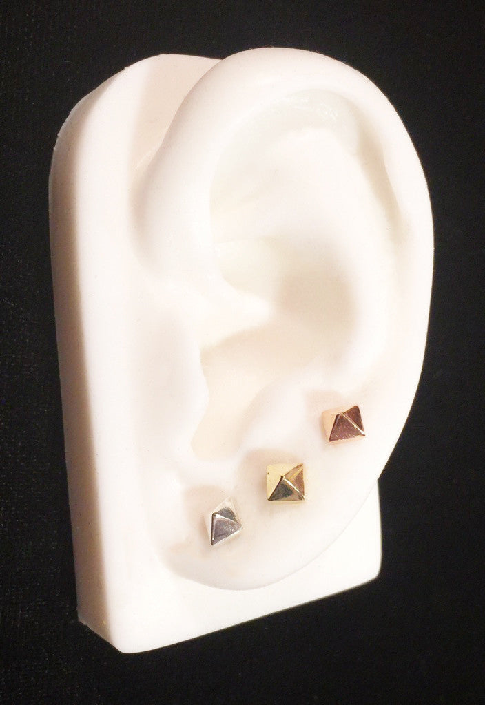 Small Pyramid Stud Earrings Wendy Nichol Fine Jewelry Designer Barney's Barneys solid 14k Gold Yellow Rose White Sterling Silver simple delicate dainty Punk Egyptian pyramid studs Handmade in NYC New York City First Second Ear Hole Piercing Snug Tragus Helix Cartilage Lower Lobe Upper Lobe