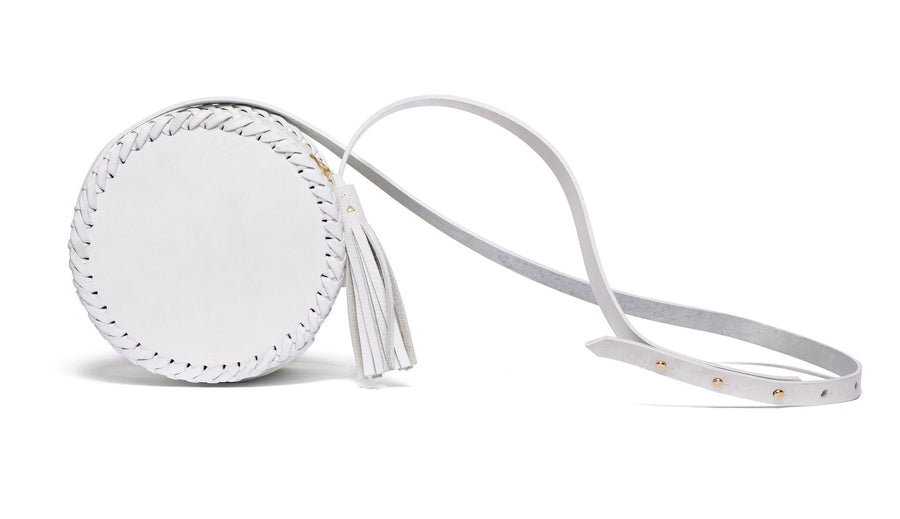 Summer Wedding Small White Leather Canteen Bag Wendy Nichol Handbag Purse Designer Handmade in NYC New York City Braided x Round Circle Cross body Adjustable Strap Zip Zipper Large Fringe Tassel High Quality Leather