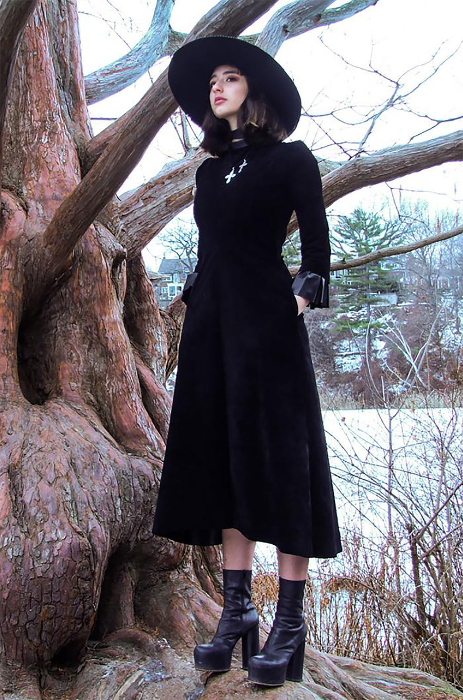 Suede and Leather Nun Dress Wendy Nichol clothing ready to wear fashion designer handmade in NYC custom tailoring Made to measure Sofia G. Model