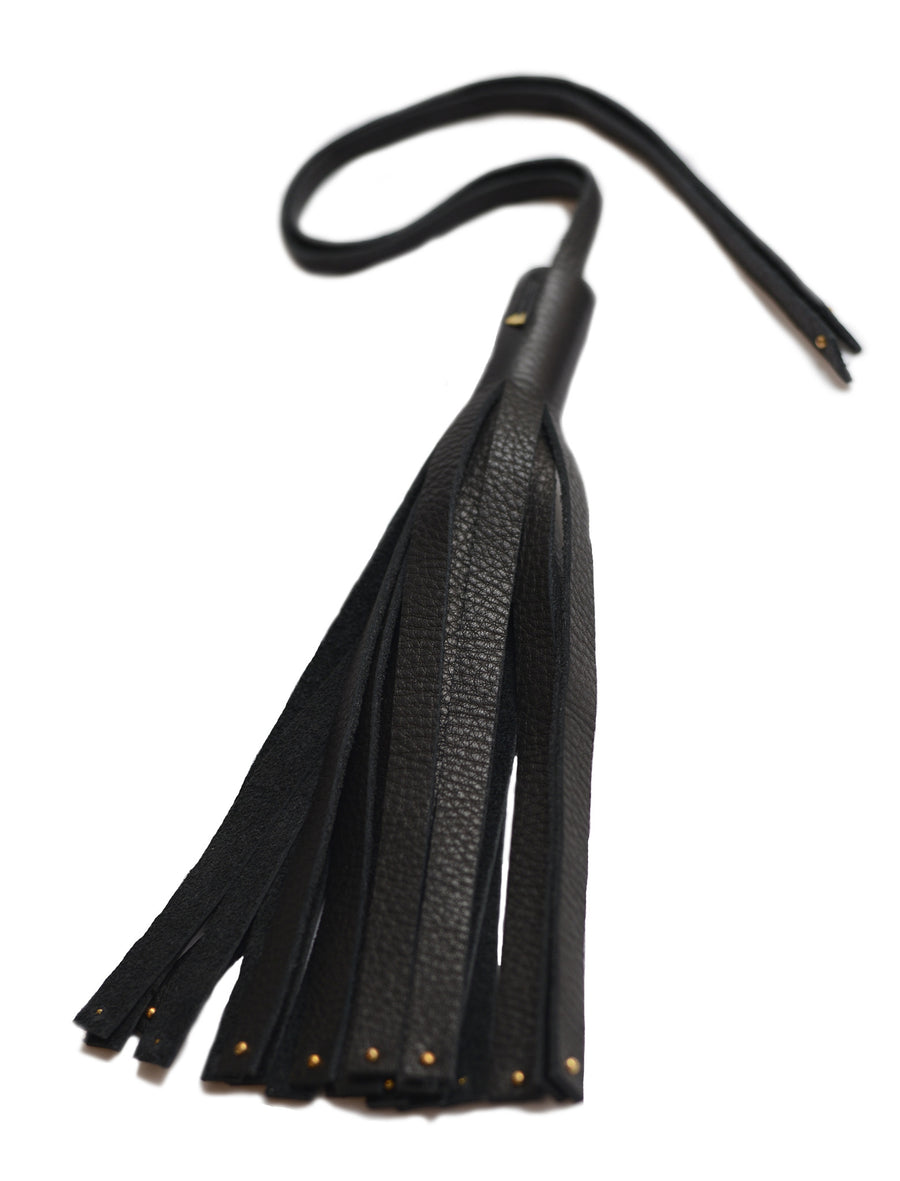 Large Studded Leather Tassel Tie Wendy Nichol Designer Handmade in NYC New York City High Quality Real Black Leather Fringe Tassel Stud Bag Handbag Accessory
