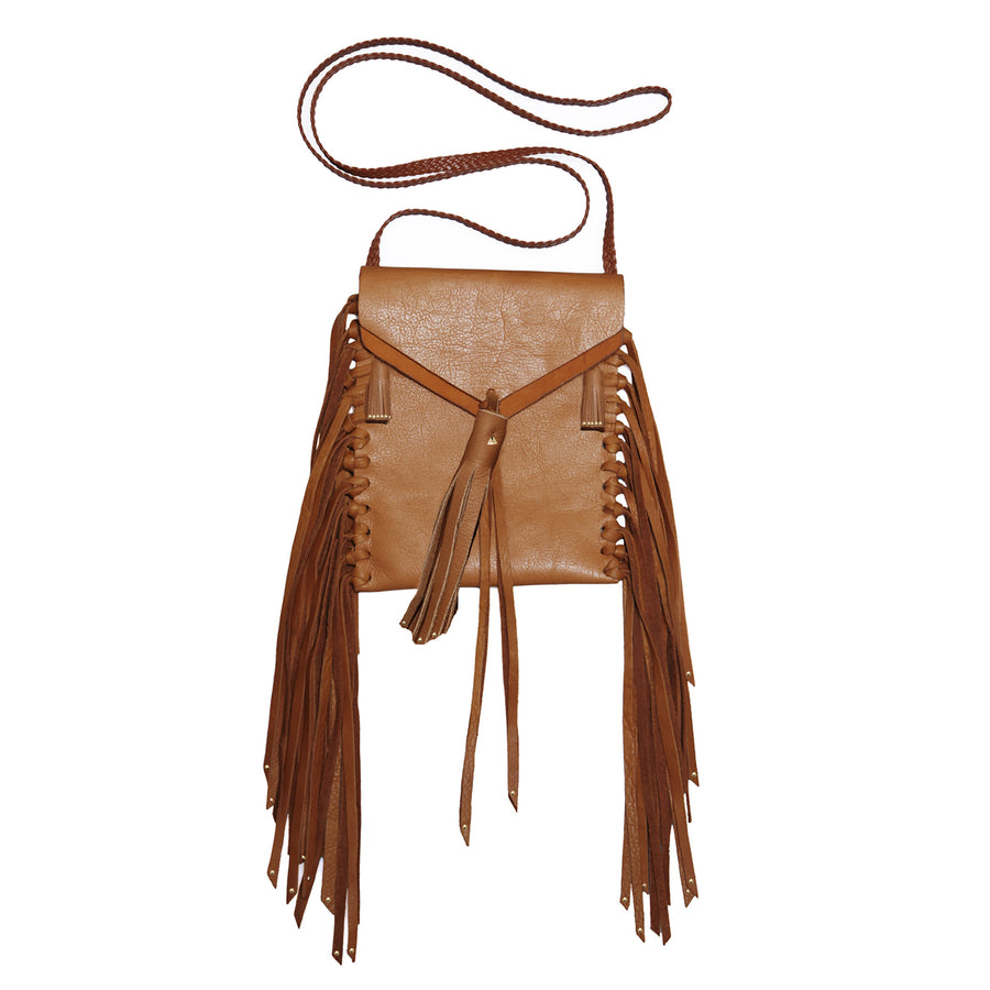 Canyon Carmel Brown Tan Stud Studs Studded Tobacco Bag Wendy Nichol Handbag Purse Designer Handmade in NYC New York City Fringe Tassel Tassels Boho Cross Body Adjustable Braided Strap  Vertical Pouch High Quality Leather