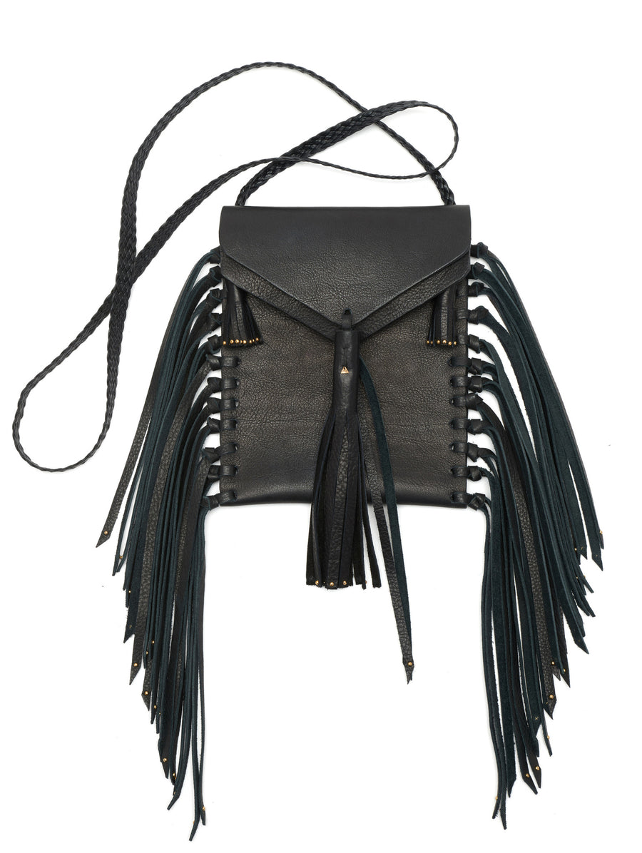 Black Stud Studs Studded Tobacco Bag Wendy Nichol Handbag Purse Designer Handmade in NYC New York City Fringe Tassel Tassels Boho Cross Body Adjustable Braided Strap  Vertical Pouch High Quality Leather