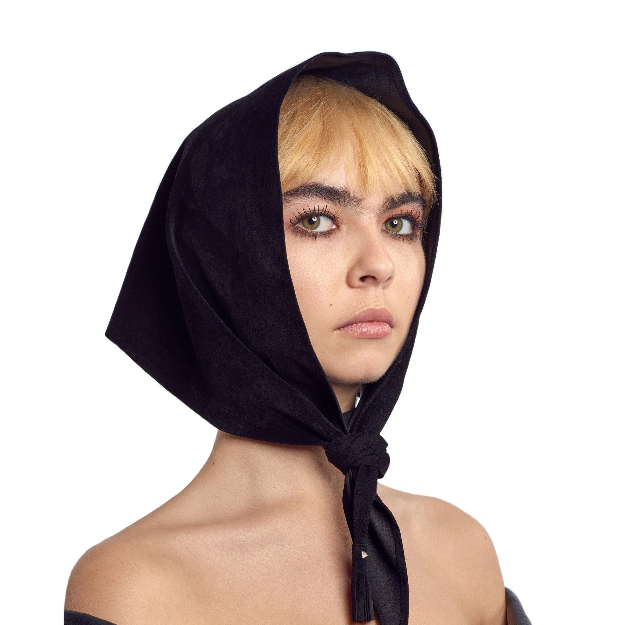 Suede & Leather Headscarf Wendy Nichol handmade in NYC