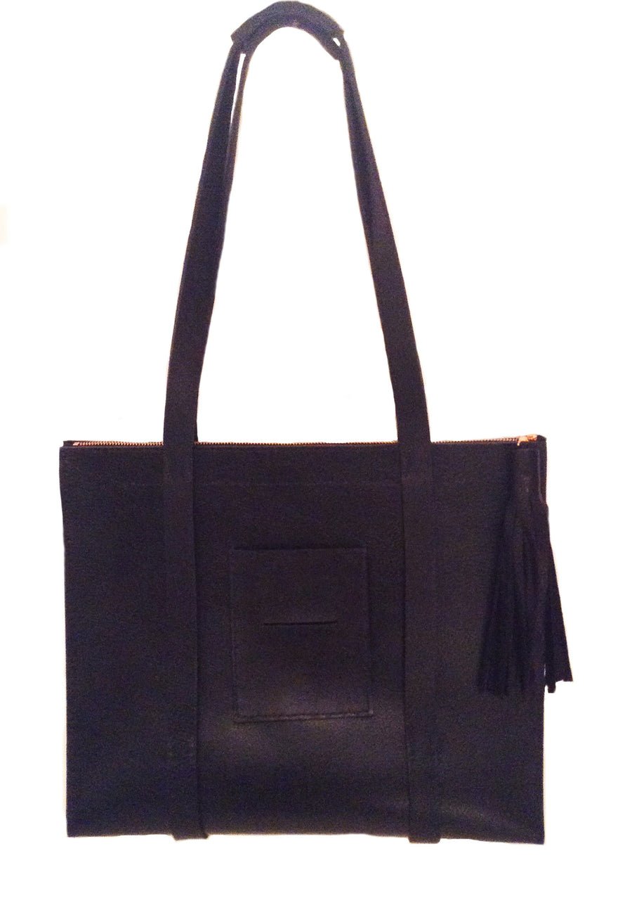 Sullivan Street Black Leather Bag Wendy Nichol Handbag Purse Work Woman Female Brief Briefcase Functional Organize Purse Designer Handmade in NYC New York City Metro Pocket Newspaper Magazine strap Durable straps zip zipper fringe tassel pull interior pocket Triangle Structured Shape durable handles High Quality Leather