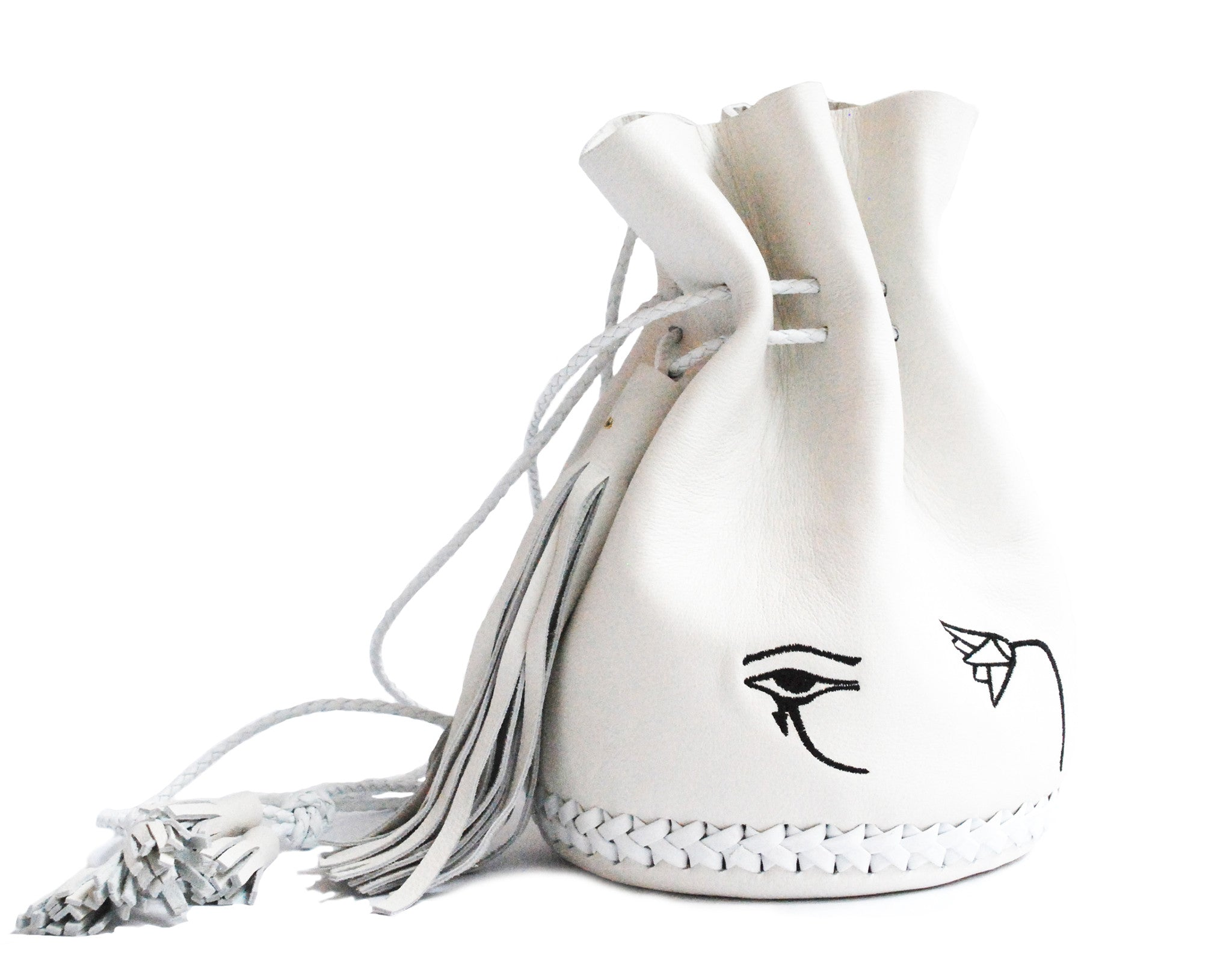 Embroidered Egyptian Symbols Eye of Horus Djet Snake Owl Lotus Flower Sesen Leather Bullet Bag Wendy Nichol Designer Handbag Purse Handmade in NYC New York City Eye of Horus Bucket Drawstring Pouch Bag Large Fringe Tassel Tassels
