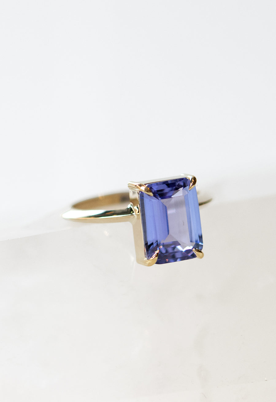 Emerald Cut Tanzanite Knife Edge Ring