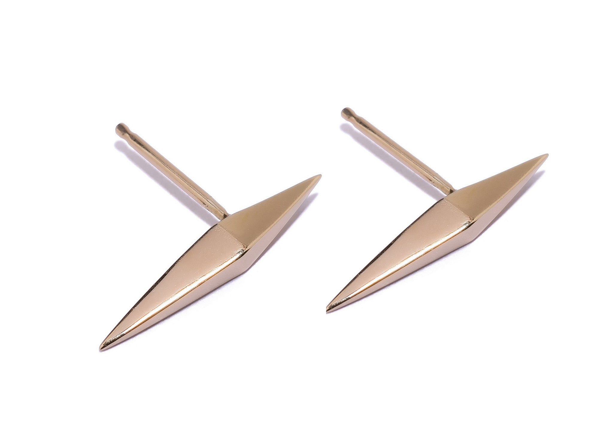 Thin DT Pyramid Spike Stud Earrings Wendy Nichol fine Jewelry Designer 14k Gold Sterling Silver