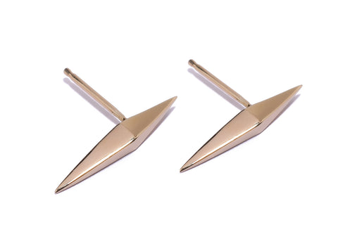 Thin DT Pyramid Spike Stud Earrings Wendy Nichol fine Jewelry Designer solid 14k Gold Sterling Silver Handmade in NYC New York City sword daggers spikes Studs pair First Second Piercing Upper Lobe Lower Lobe Snug Helix Cartilage