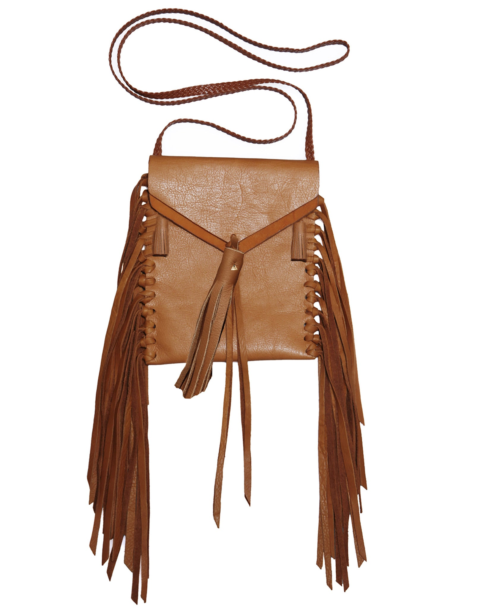 Canyon Carmel Brown Tan Tobacco Bag Wendy Nichol Leather Luxury Handbag Purse Designer Handmade in NYC New York City Small Fringe Tassel Tassels Hippie Coachella Native American Tobacco Simple Long Vertical Pouch Braided adjustable Cross Body Strap Fringe side High Quality Leather