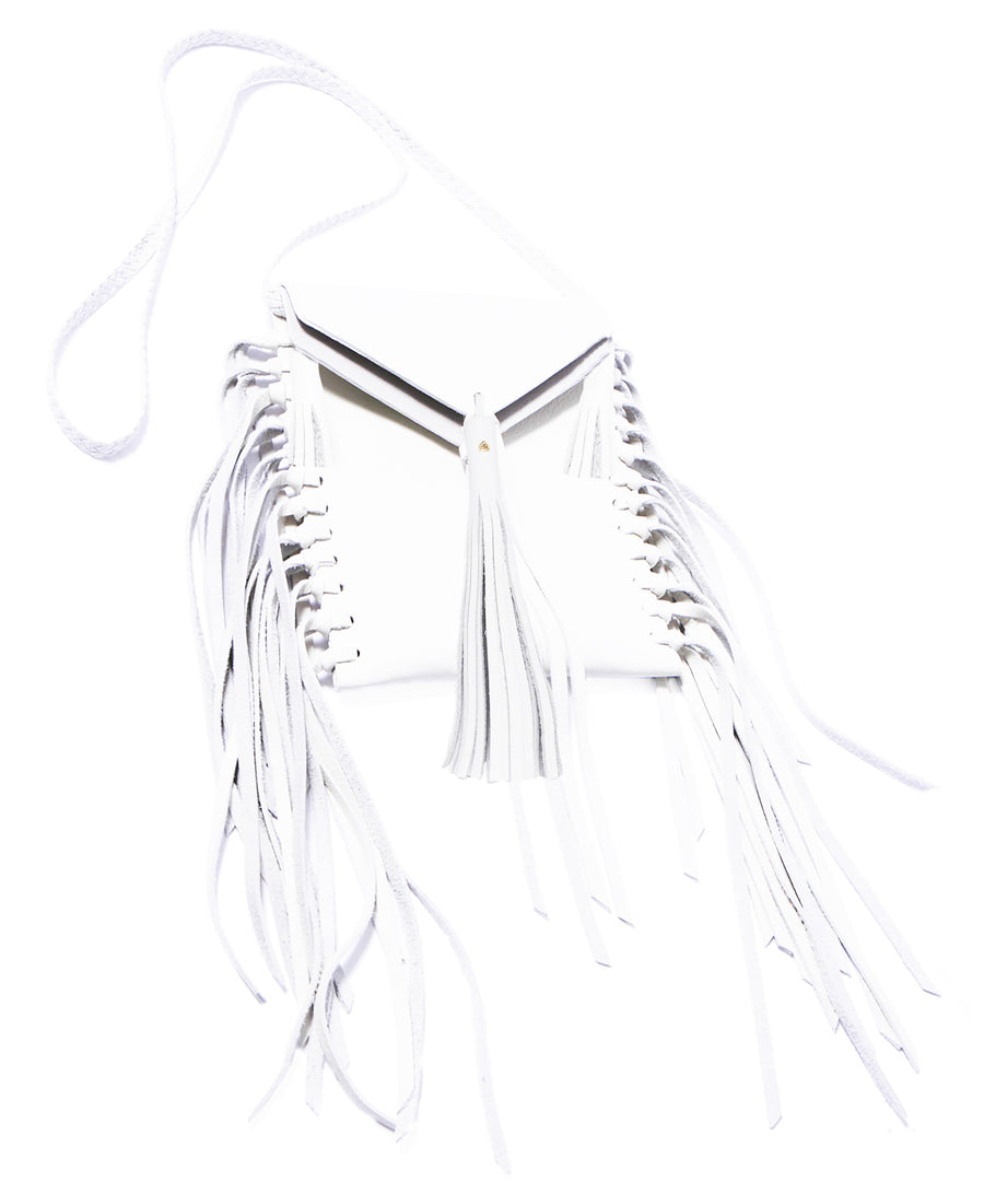 White Summer Tobacco Bag Wendy Nichol Leather Luxury Handbag Purse Designer Handmade in NYC New York City Small Fringe Tassel Tassels Hippie Coachella Native American Tobacco Simple Long Vertical Pouch Braided adjustable Cross Body Strap Fringe side High Quality Leather