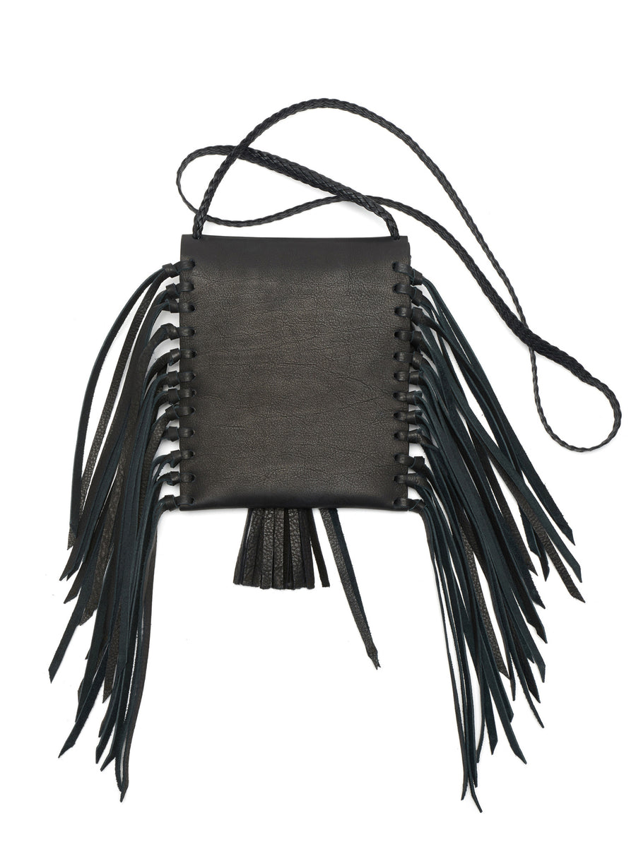 Black Tobacco Bag Wendy Nichol Leather Luxury Handbag Purse Designer Handmade in NYC New York City Small Fringe Tassel Tassels Hippie Coachella Native American Tobacco Simple Long Vertical Pouch Braided adjustable Cross Body Strap Fringe side High Quality Leather