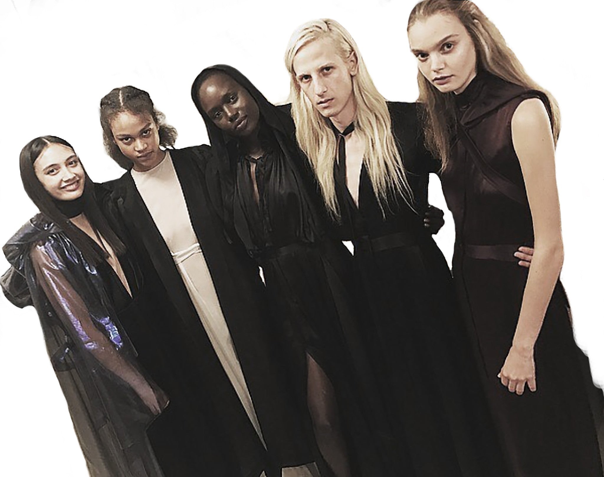Total Drone Tarsha Orsman Marthe Wiggers Melanie Engel Ajak Deng IMG Models Ryan James Smith Model Wendy Nichol SS17 Fashion Show Runway Designer Black Hooded Sheer Coat Cloak
