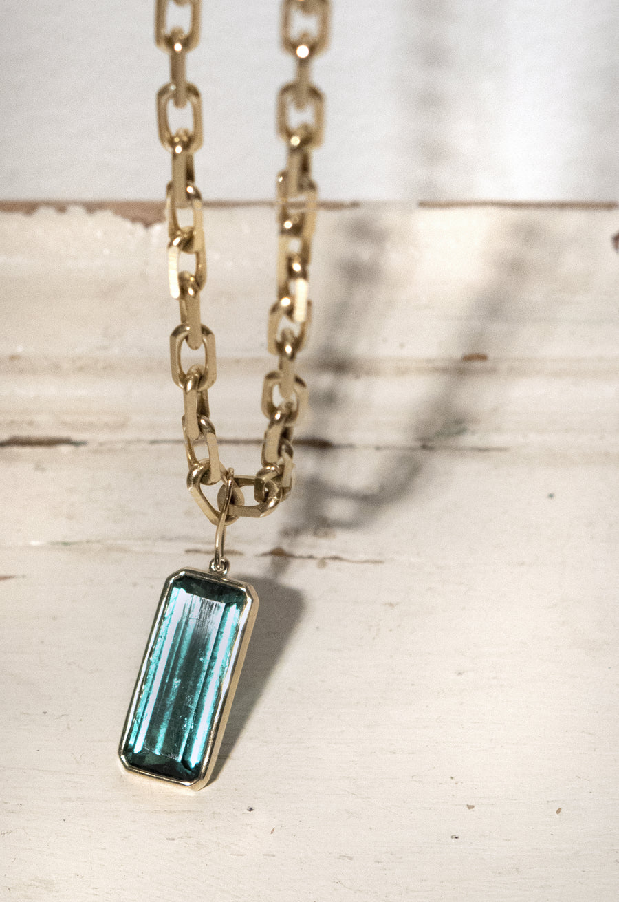 Large Emerald Cut Tourmaline Pendant Necklace
