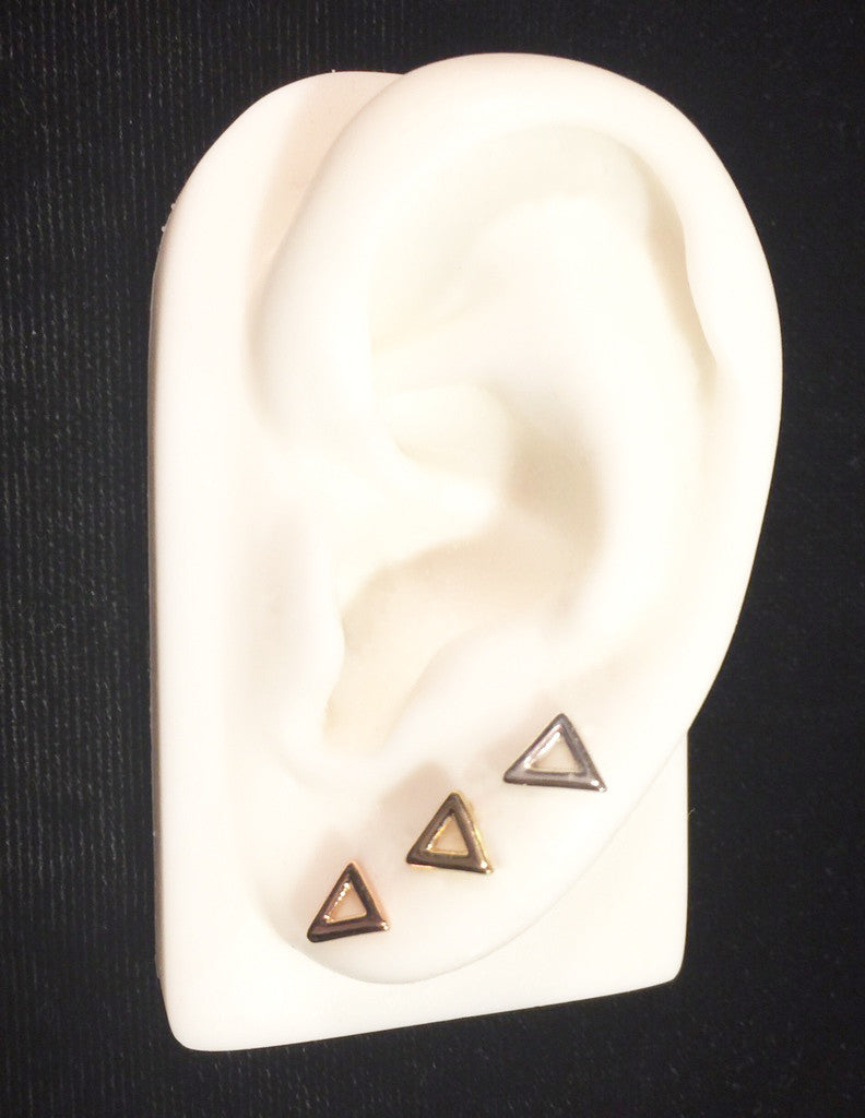 Triangle Outline Stud Earrings Wendy Nichol Fine Jewelry Designer Barney's Barneys solid 14k Gold yellow Rose White Sterling Silver Simple delicate everyday Egyptian cut out open Triangle Geometric Studs handmade in NYC New York City First Second Ear Hole Piercing Lower Lobe Upper Lobe
