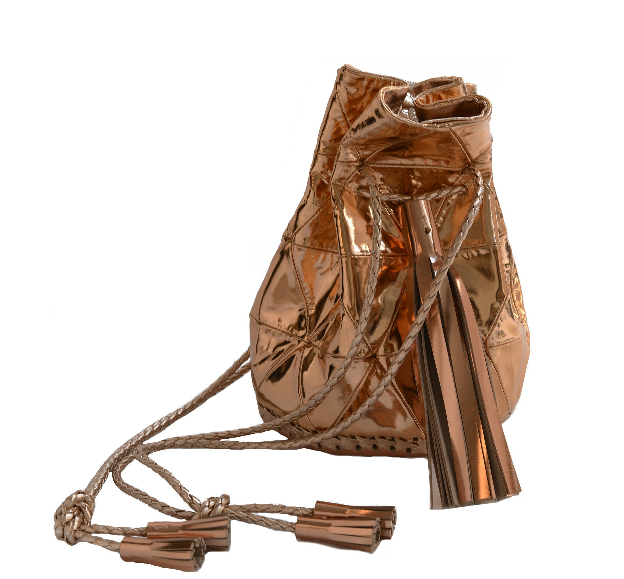 Copper Mirror Patent Reflective Shiny Metallic Leather Triangle Patchwork Bullet Bag Wendy Nichol Handbag Purse Designer Handmade in NYC New York City Bucket Drawstring pouch bag Large Fringe Tassel Tassels Metallic Reflective Shiny Magician Witch