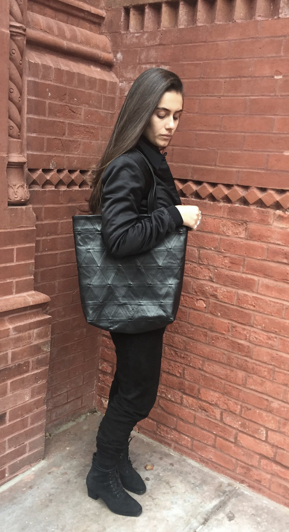 Black Leather Triangle Patchwork Tote Wendy Nichol Designer Handbag Purse Tote Handmade in NYC New York City Strong durable Handle interior pocket Triangles High Quality Leather