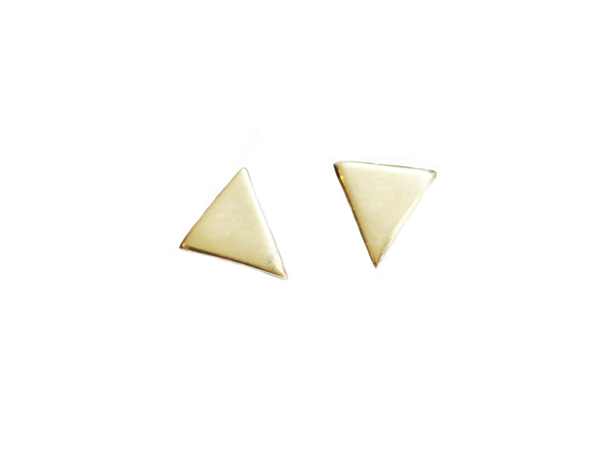 Triangle Shape Stud Earrings Wendy Nichol Fine Jewelry Designer solid 14k Gold Yellow Rose White Sterling Silver Simple delicate Triangle Geometric Studs handmade in NYC New York City everyday First Second Ear Hole Piercing Lower Lobe upper lobe studs
