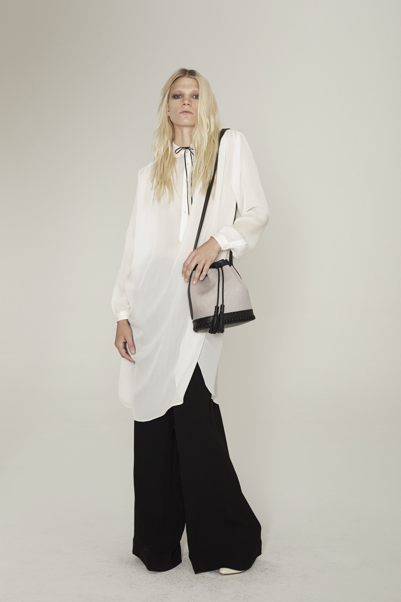 Chelsea Danielle Wichmann Model Silk Night Shirt & Relax Wide Leg Pants Wendy Nichol Clothing Fashion Designer handmade in NYC runway ready to wear show SS15 Space Master Oversized Sheer Transparent White Silk Blouse button collar long Sleeve Silk Wide leg High waist waisted pants Made to Measure Made to Order Custom Tailoring Bespoke