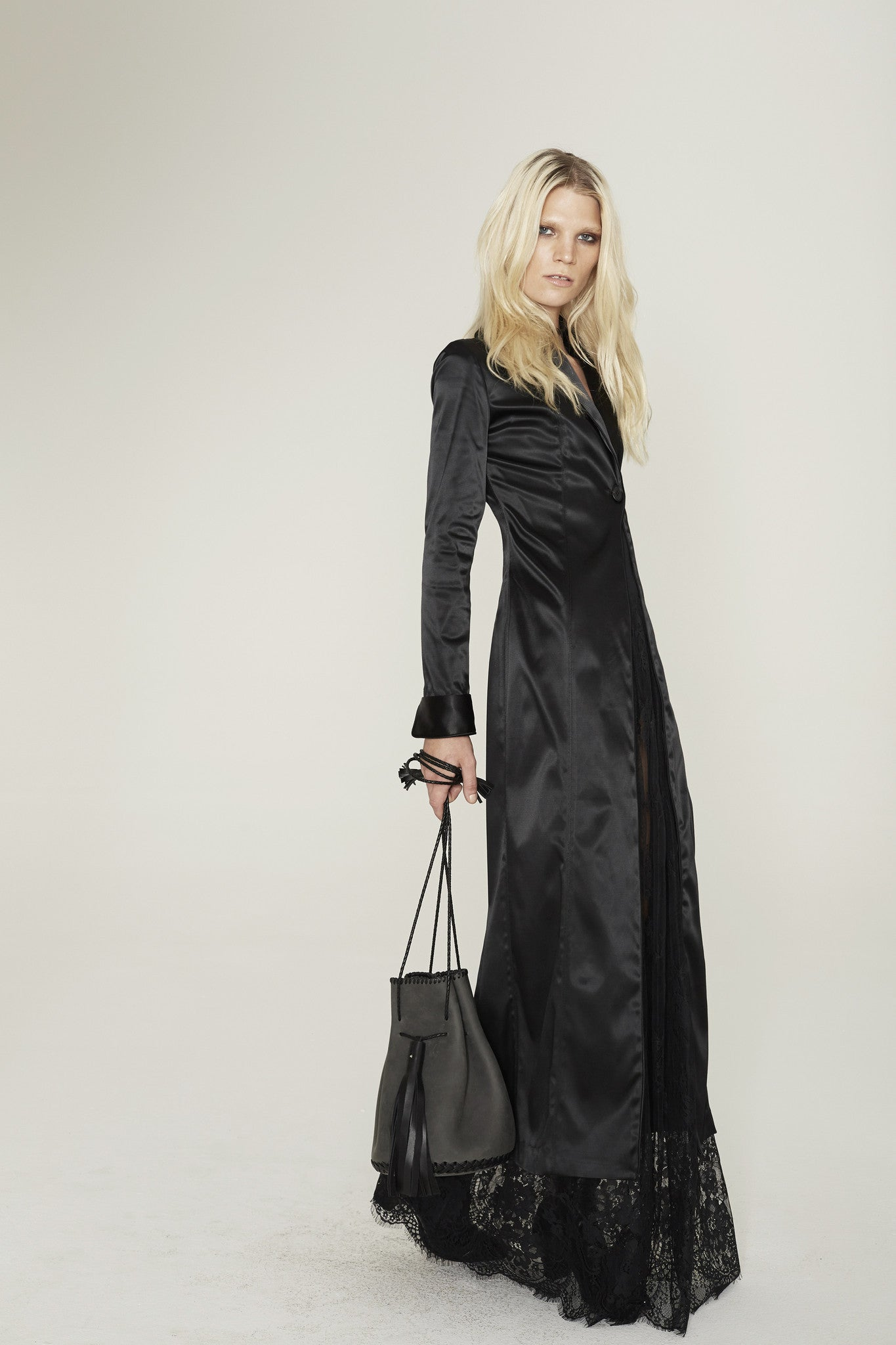 Chelsea Danielle Wichmann Silk Satin Long Tuxedo Jacket & Black Sheer french Lace Half Slip Skirt Wendy Nichol Clothing Fashion designer Handmade in NYC custom tailoring Fashion ready to wear show SS15