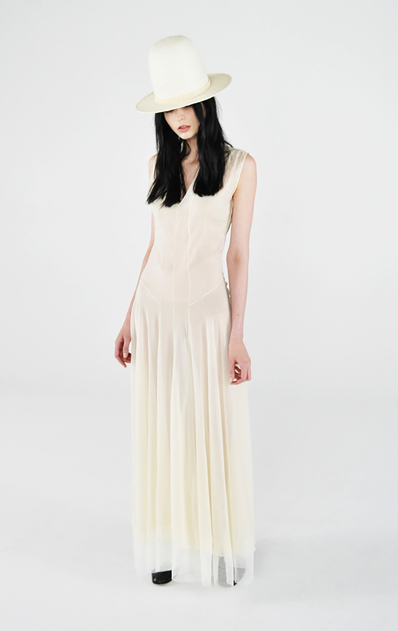 cream ivory white silk chiffon Victorian slip dress Wendy Nichol Fashion clothing designer runway SS13 sleeveless v neck lace trim sheer vintage Victorian slip dress bride bridal wedding straw El topo high crown hat Handmade in NYC New York City Custom color fabric made to Measure tailor tailoring fitted