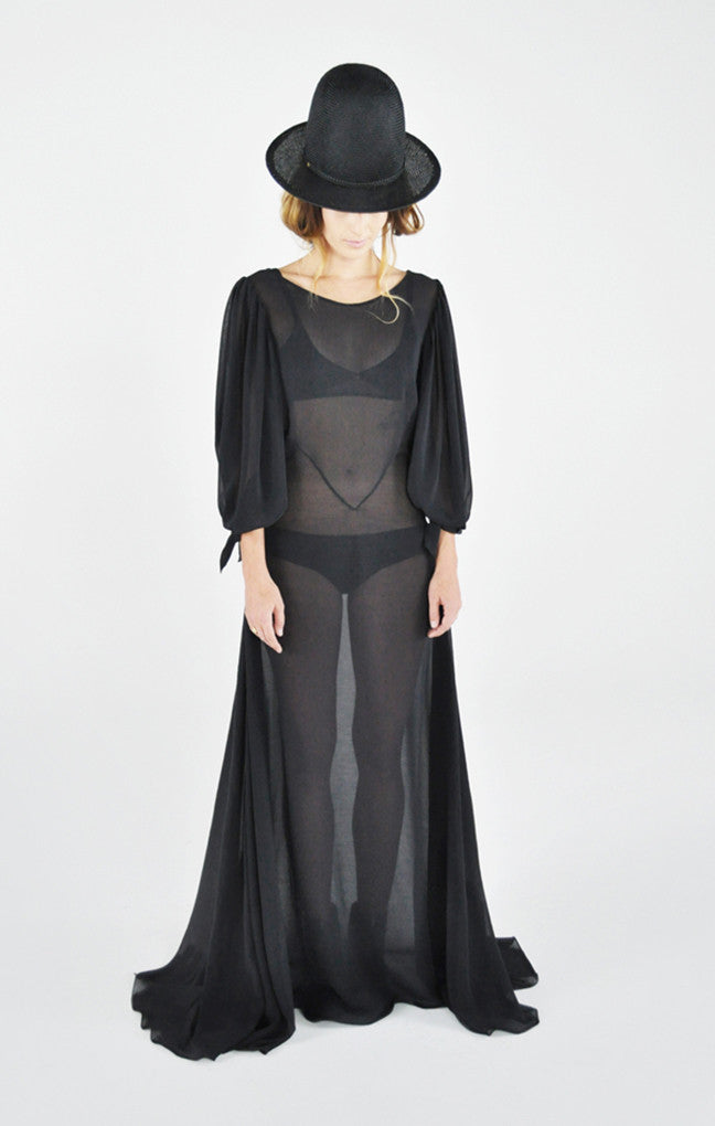 Wendy Nichol Fashion Runway Show Puff Sleeve Dress Sheer Long Black Silk Handmade in NYC Custom Tailoring Fabric Color Made to Measure El Topo Clothing