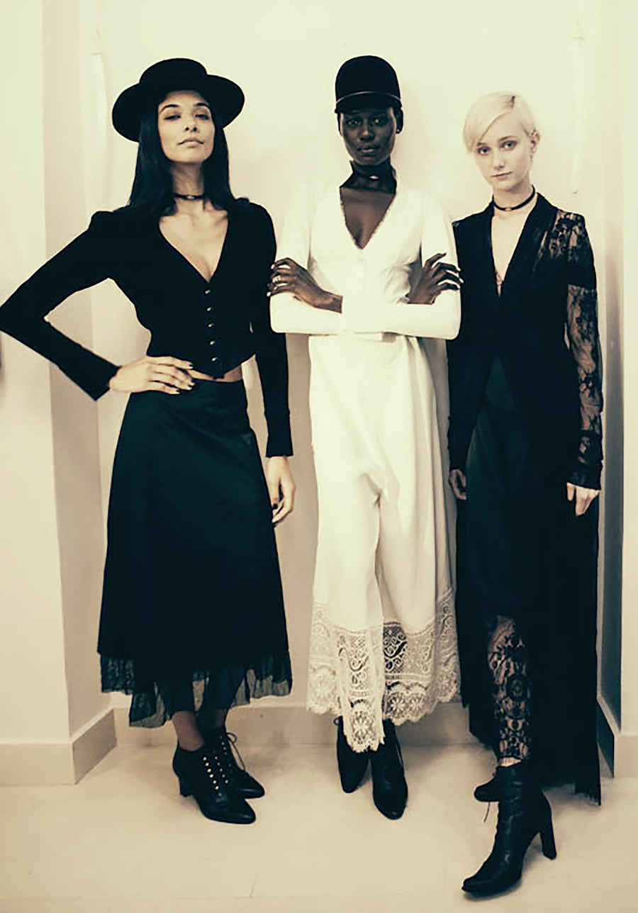 Ajak Deng Heidy de la Rosa Juliette Fazekas IMG Model Black French Lace Empire Waist Coat Dress Wendy Nichol Clothing Fashion Designer Runway Show Handmade in NYC New York City SS15 Space Master Bespoke Made to Order Made to Measure Custom Tailoring Black Sheer Cut out Lace Long Sleeve Deep V Plunge Neck Empire Waist Dress Coat Wedding Bride cover Mother of the Bride Summer Spring