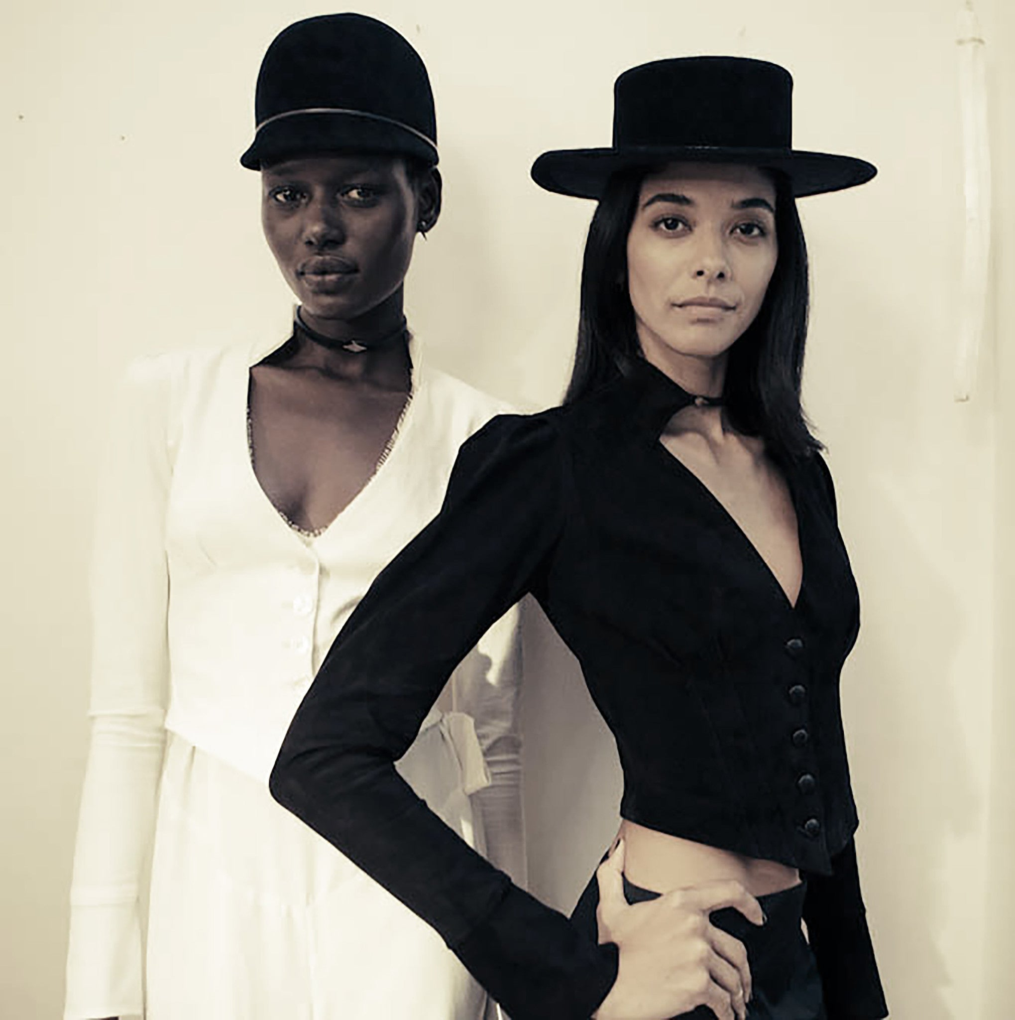 Ajak Deng IMG Model Heidy de la Rosa Fitted White Victorian Jacket & Lace Jumper Wendy Nichol Clothing Designer Fashion Runway show SS15 handmade in NYC custom tailoring