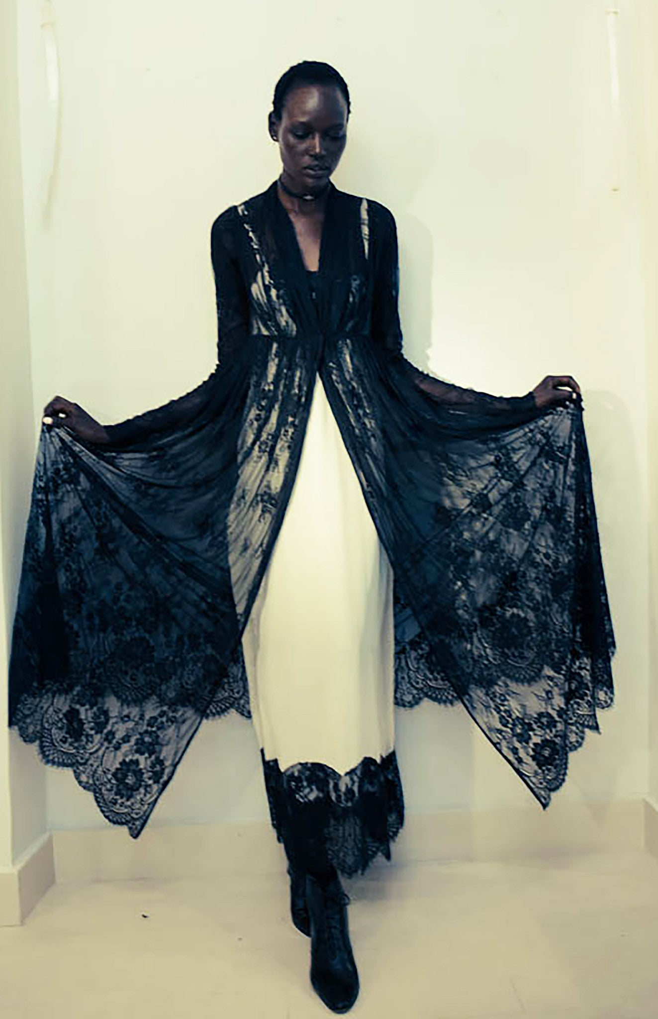 Ajak Deng IMG Model Crepe de Chine Slip Dress with French Lace Wendy Nichol Clothing Fashion Designer Handmade in NYC Custom Tailoring Fashion Runway show SS15