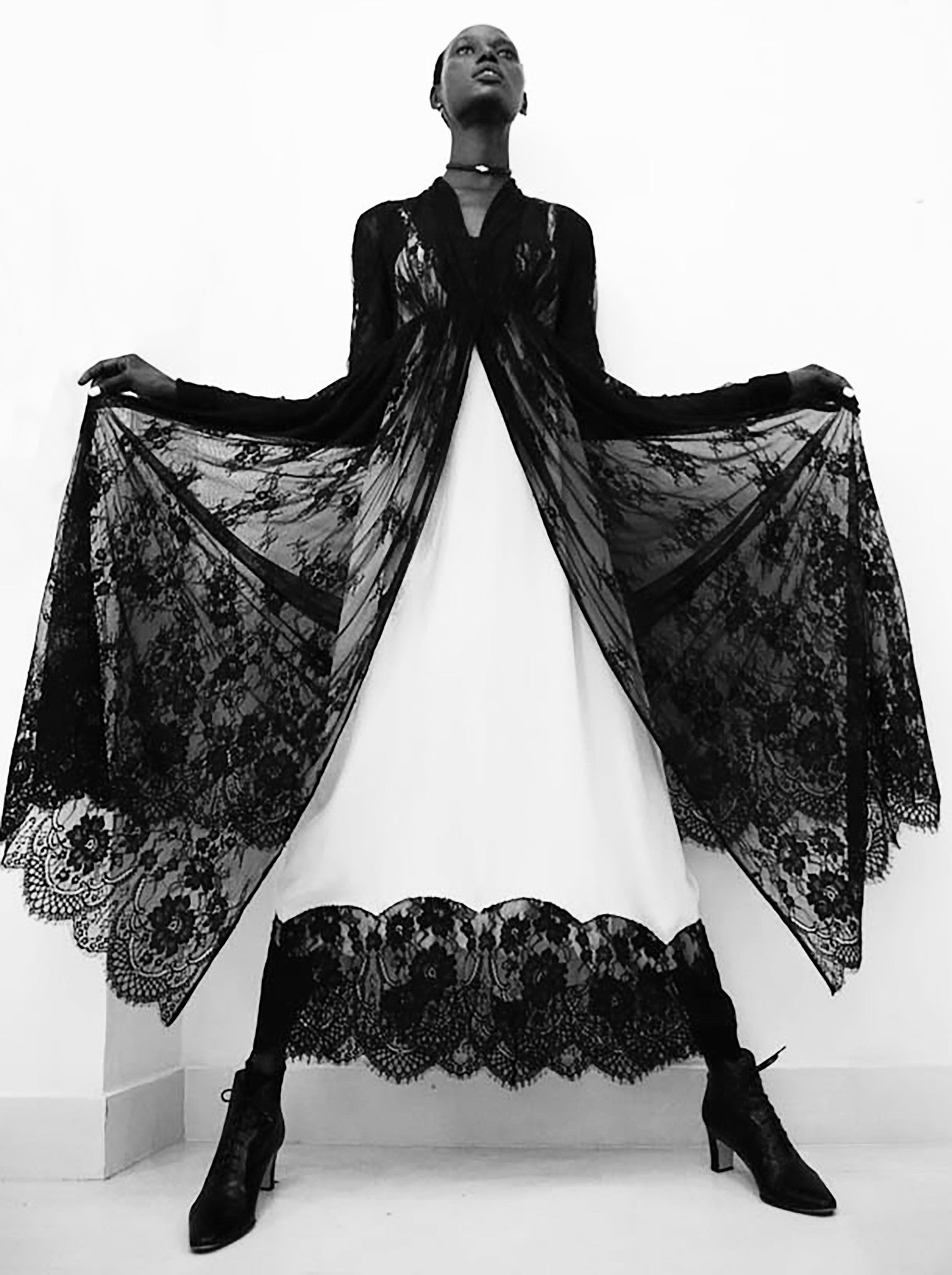 Ajak Deng IMG Model French Lace Empire Waist Coat Sheer Wendy Nichol Clothing Fashion Designer Runway Show Handmade in NYC SS15  Black Sheer Lace