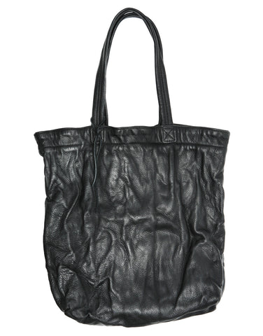 Billy Kid Black Washed Crinkle Leather Tote Wendy Nichol Handbag Purse Bag Designer Handmade in NYC New York City strong Durable shoulder strap Interior pocket High Quality soft Leather Hand Washed Large Tote