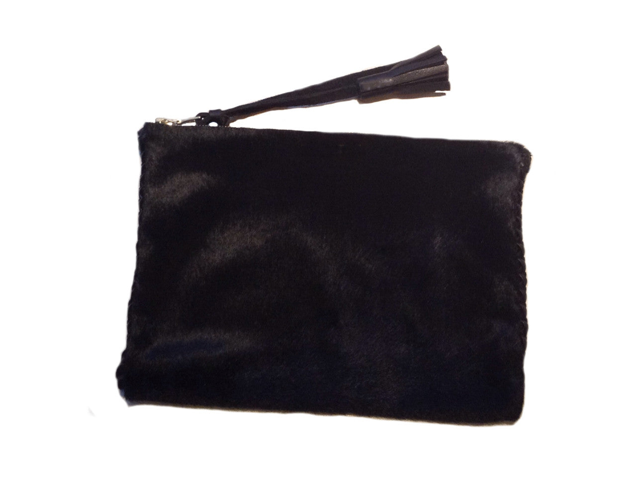 Black Pony Cow Fur Hair Leather Braided Pouch Wendy Nichol Handbag Wallet Designer Handmade in NYC