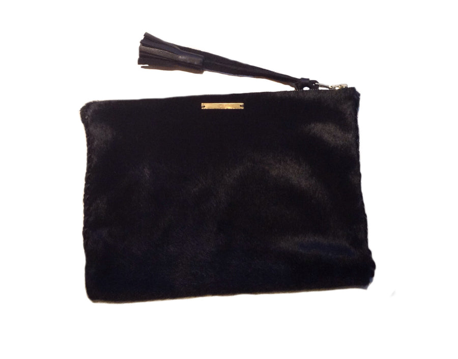 Black Pony Cow Fur Hair Black Leather Braided Pouch Wendy Nichol Luxe Luxury Handbag Wallet Designer Handmade in NYC New York City High Quality Leather Zip Zipper Fringe Tassel Pull Money Credit Card Wallet Pouch Make Up Case Bag Essentials Essential Powder Room Bathroom Tampons Period Pads