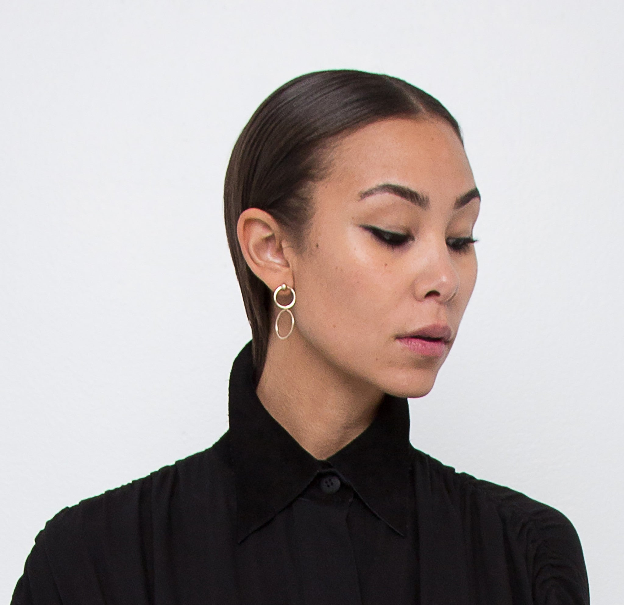 The Double Hanging Hoops Stud Earrings Wendy Nichol Fine Jewelry Designer Delicate Dangle Handmade in NYC solid 14k Gold