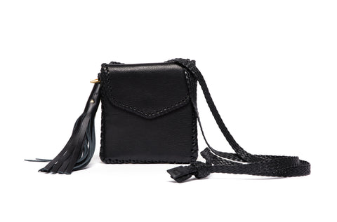 Little Sorel Whipstitch Belt Bag Black Leather Wendy Nichol Handbag Purse Designer Handmade in NYC cross body pouch Essentials going out dance party clubbing wallet braided strap waist bag