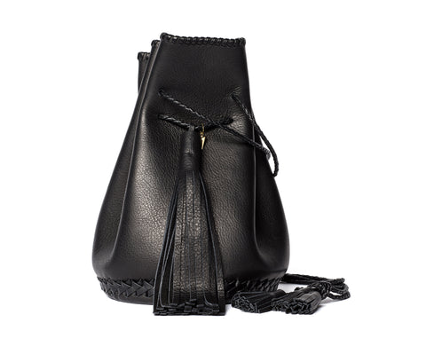 Black Leather Whipstitch Bullet Bag Wendy Nichol Handmade in NYC Leather Bucket Handbag