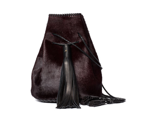 ox Blood Burgundy Maroon Pony Cow Fur Leather Whipstitch Bullet Bag Wendy Nichol Handbag Purse Handmade in NYC Bucket Bag Drawstring Pouch Large Fringe Tassel