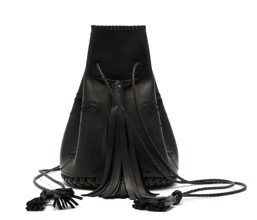 Black Egyptian Eye of Horus Embroidered Leather Whipstitch Bullet Bag Wendy Nichol Handbags Purse Designer Handmade in NYC New York City Bucket Bag Drawstring Pouch Magician Gypsy Witch Madonna Desperately Seeking Susan Purse Eyeballs Evil Eye Large Fringe Tassel