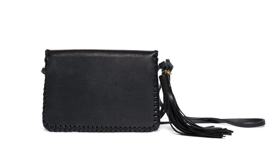 Whipstitch Middle Earth Black Leather Bag Wendy Nichol Handbag Purse Designer Handmade in NYC New York City Envelope Flap Magnet Magnetic Closure Pouch Clutch Back Pocket Cross Body Durable strap Fringe Tassel wallet essentials High Quality Leather